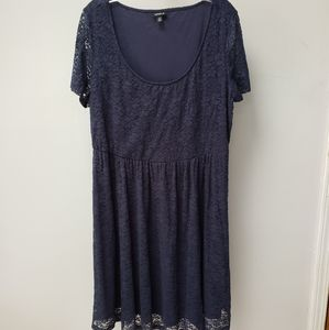 Torrid Navy lace fit and flare dress blue plus 2x